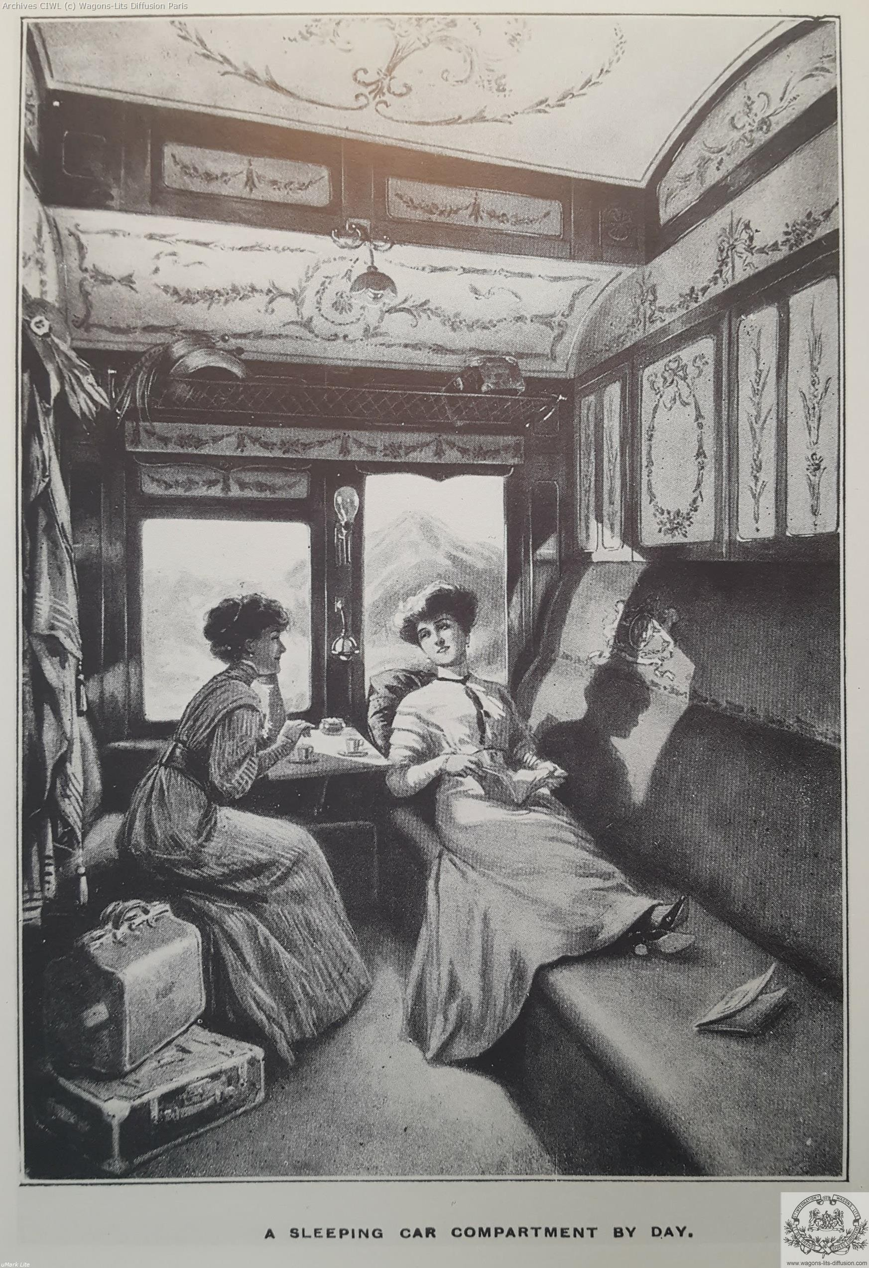 Wl a sleeping car compartment by day
