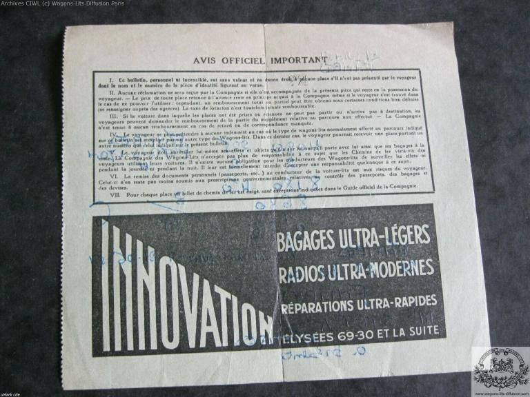Wl billet ciwl paris antibes train bleu 1951 verso