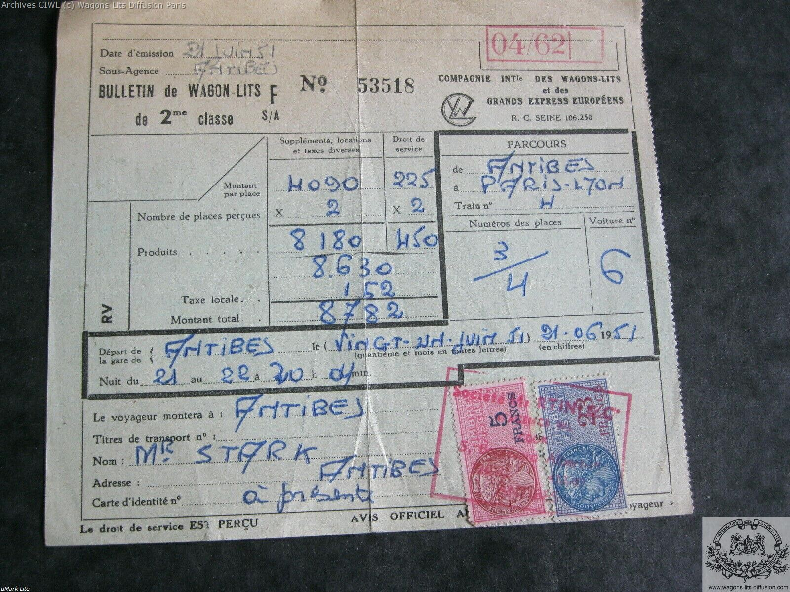Wl billet ciwl paris antibes train bleu 1951