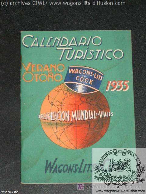 WL Calendrier Touristique Wagons Lits Cook 1935
