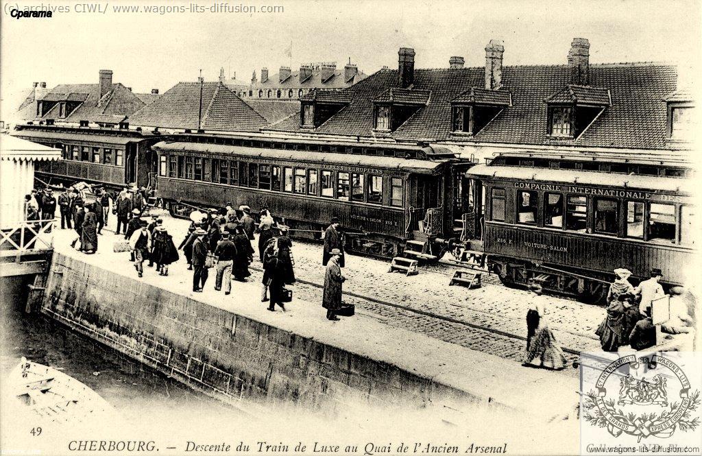 WL descente du train CIWL à Cherbourg (CP)