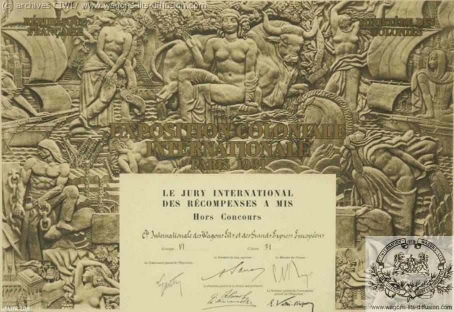 WL Expo Coloniale 1931 prix CIWL