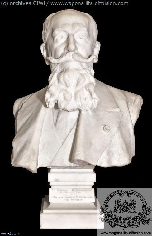 WL Georges Nagelmackers, buste en marbre blanc, 1912
