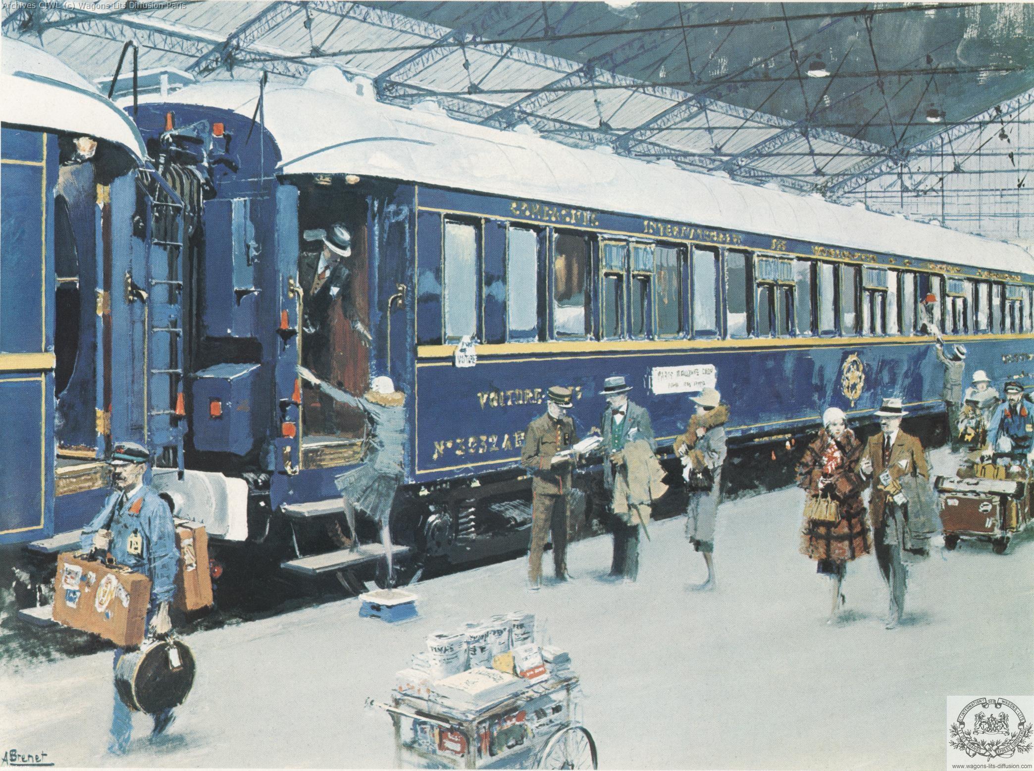 Wl train bleu gouache brenet