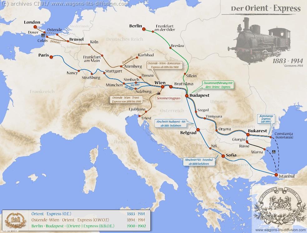 WL trajet orient express 1883 à 1914