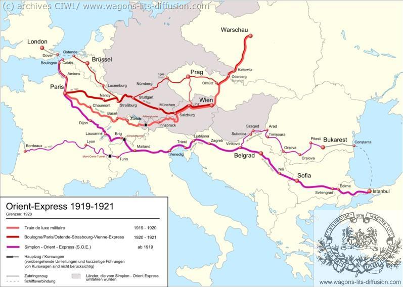 WL trajet Orient Express 1919 à 1921