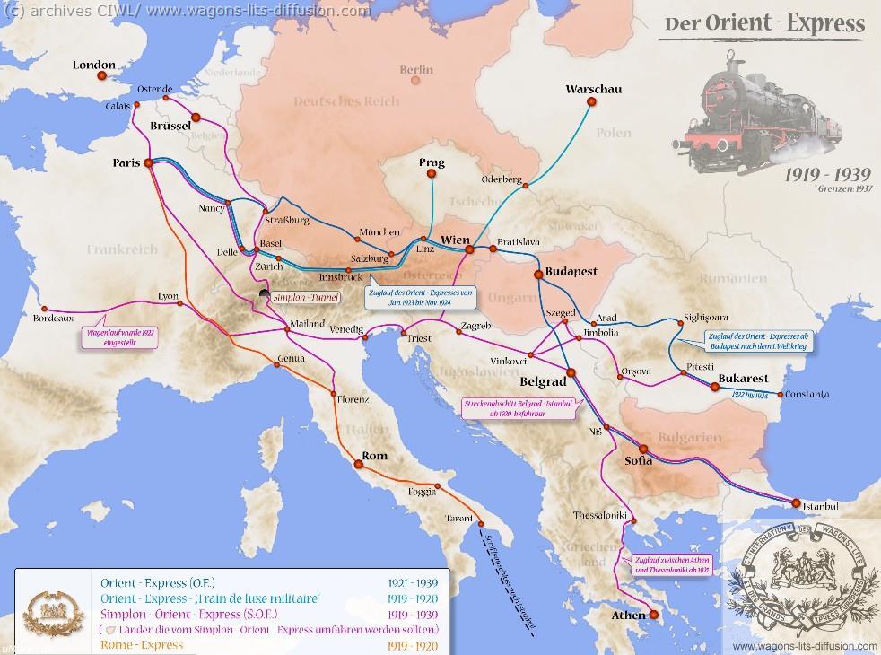WL trajet orient express 1919 à 1939