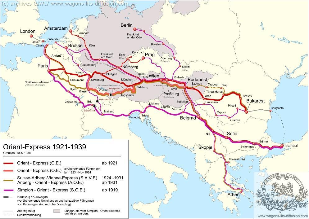 WL trajet Orient Express 1921 à 1939