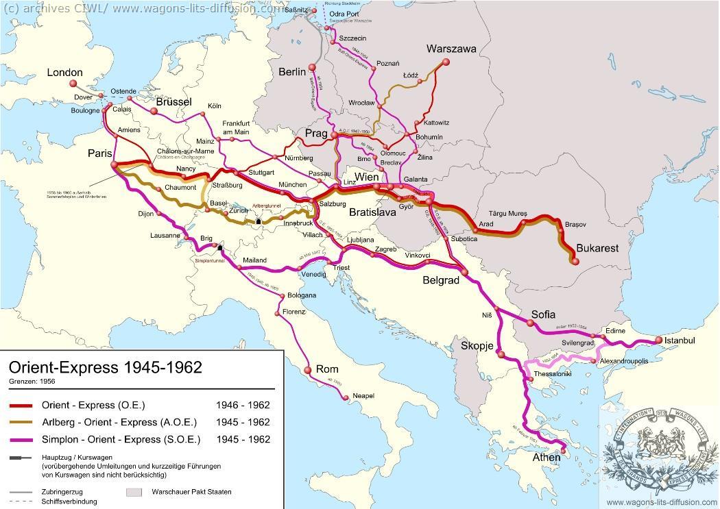 WL trajet Orient Express 1945 à 1962