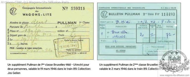 Billet supplement voiture pullman 1946 nl