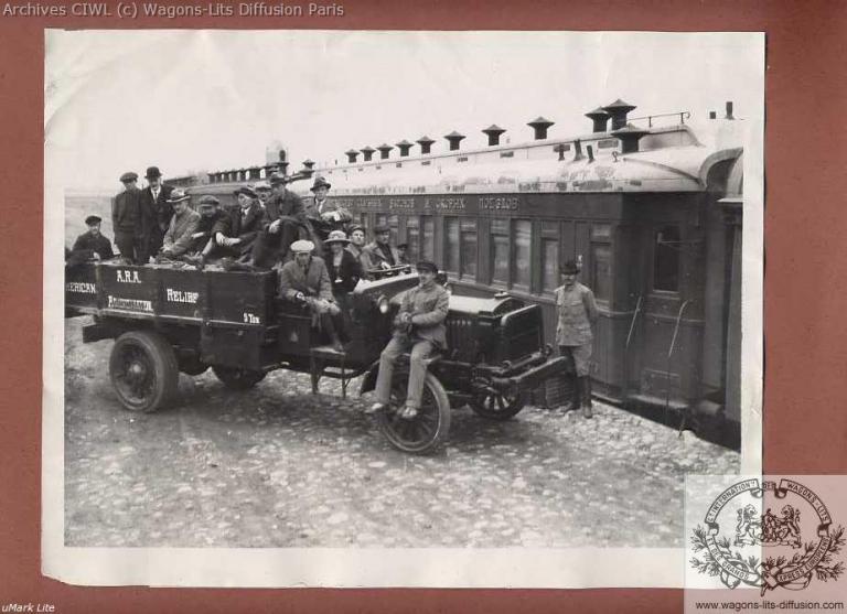Orig 1921 us ara relief train kazan famine russia photo