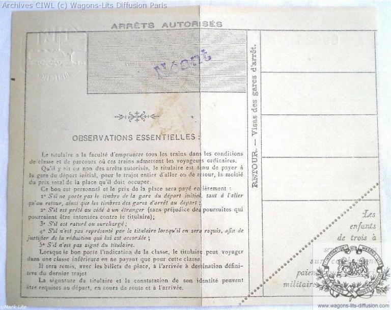 Plm billet de train plm paris grenoble 1914 verso