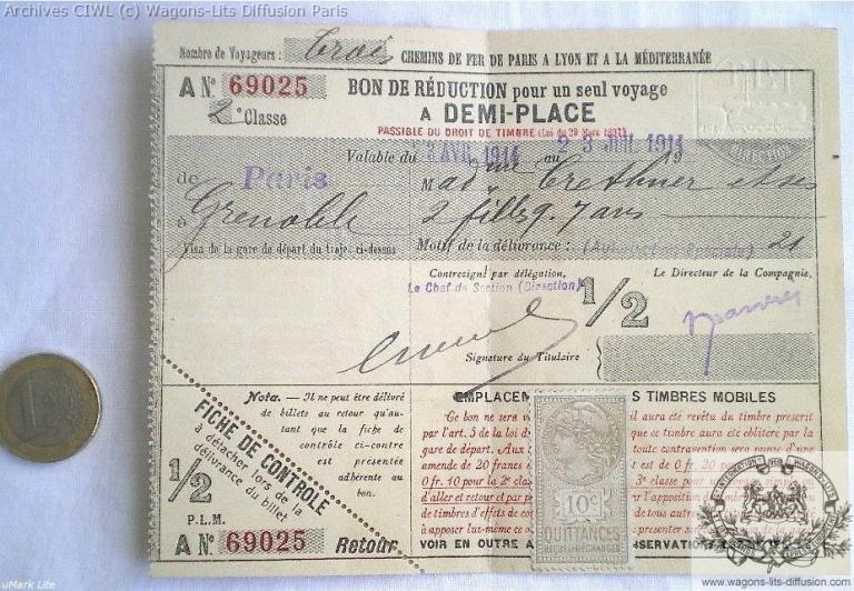 Plm billet de train plm paris grenoble 1914