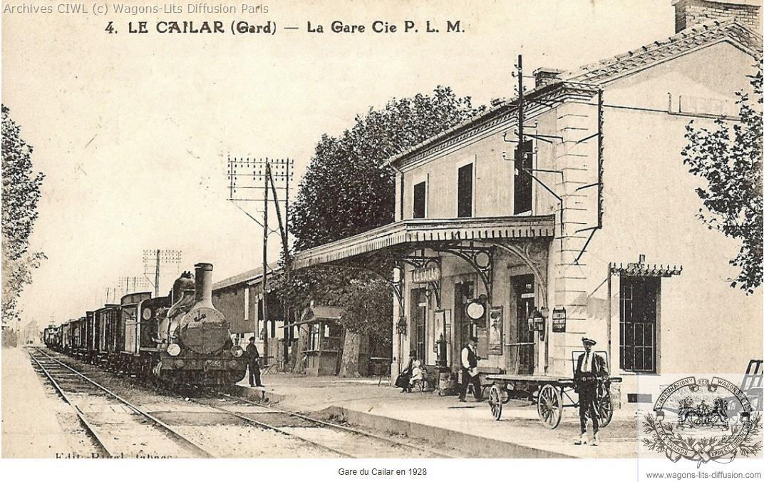 Plm gare du cailar gard en 1928