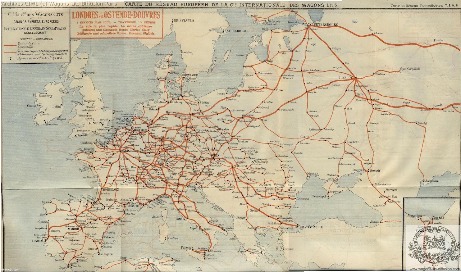 Wl carte reseau europe 1914