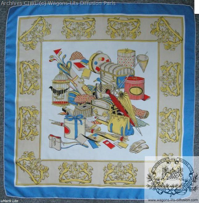 Wl foulard compagnie internationale wagons lits 1950 vintage soie