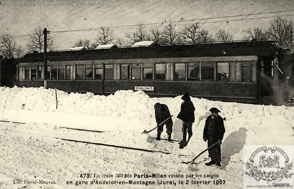 Wl paris milan bloque par la neige dans le jura en 1907