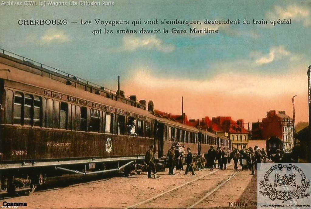 Wl train special transatlantique en gare maritime de cherbourg