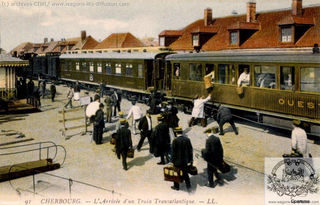 WL train transat CIWL à Cherbourg (CP)