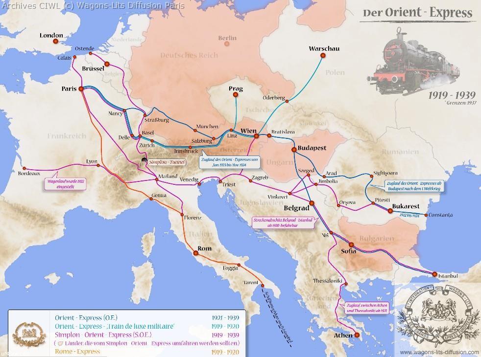 Wl trajet orient express 1919 a 1940